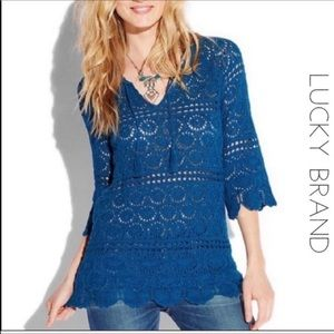 Lucky Brand peacock blue knit sweater